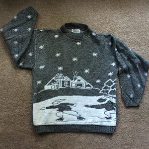 Vintage Burlington Factory Winter Scene Sweater